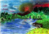 Xu Yi Lili: Illusztráció Petőfi Sándor Tisza című művéhez / gyermekrajz