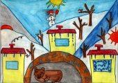 Lakatos Bence: Illusztráció Kányádi Sándor Február című művéhez / gyermekrajz