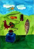 Fialowski Melinda: Illusztráció Kosztolányi Dezső Mostan színes tintákról…című művéhez / gyermekrajz