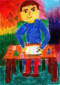 Kerschner Dorottya: Illusztráció Kosztolányi Dezső Mostan színes tintákról…című művéhez / gyermekrajz