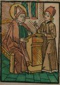 Gotthárd püspök (Illusztráció a Pannonhalmán őrzött Legenda Aurea Sanctorum című ősnyomtatvány 1482-es augsburgi kiadásából)