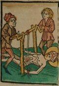 Szent Erazmus (Illusztráció a Pannonhalmán őrzött Legenda Aurea Sanctorum című ősnyomtatvány 1482-es augsburgi kiadásából)