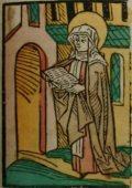 Szent Praxedis (Illusztráció a Pannonhalmán őrzött Legenda Aurea Sanctorum című ősnyomtatvány 1482-es augsburgi kiadásából)