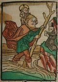 Szent Kristóf (Illusztráció a Pannonhalmán őrzött Legenda Aurea Sanctorum című ősnyomtatvány 1482-es augsburgi kiadásából)