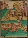 Szent Pantaleon (Illusztráció a Pannonhalmán őrzött Legenda Aurea Sanctorum című ősnyomtatvány 1482-es augsburgi kiadásából)