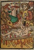 Szent Lőrinc vértanú (Illusztráció a Pannonhalmán őrzött Legenda Aurea Sanctorum című ősnyomtatvány 1482-es augsburgi kiadásából)