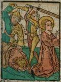 Szent Prothus és Jácint (Illusztráció a Pannonhalmán őrzött Legenda Aurea Sanctorum című ősnyomtatvány 1482-es augsburgi kiadásának 706. oldaláról)