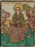 Szent Tekla (Illusztráció a Pannonhalmán őrzött Legenda Aurea Sanctorum című ősnyomtatvány 1482-es augsburgi kiadásából)