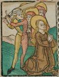 Szent Jusztina (Illusztráció a Pannonhalmán őrzött Legenda Aurea Sanctorum című ősnyomtatvány 1482-es augsburgi kiadásából)