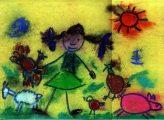 Bársony Réka: Illusztráció a Kitrákotty című népdalhoz / gyermekrajz