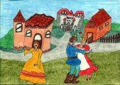 Vinklmann Gréta: Illusztráció az Egyszer egy királyfi… című népdalhoz / gyermekrajz