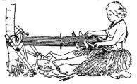 Egyszerű szövőszék, Mikronézia –Illusztráció Bodrogi Gyula: Mesterségek, társadalmak születése  című kötetéből